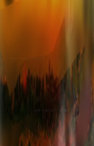 Los Angeles Abstract Art Titled Lime Grass and a Sunset by Todd Krasovetz
